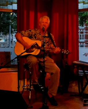 Charlie performing at an open mic
