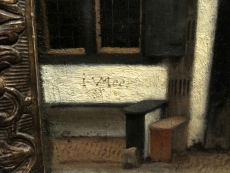 Vermeer scratched his signature into the paint in the lower left corner of the canvas.