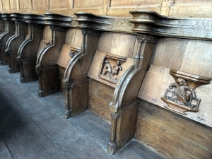 These reserved seats are each uniquely identified by the ladies who attended services in the church's ladies' chapel.