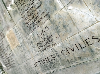 Chartres, like virtually every town in France, has created monuments to memorialize those who suffered and sacrificed in both World Wars. This monument honors the hundreds of Chartres civilians who were killed by the Nazis in WW2.