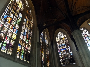 Stained glass windows in the Oude Kerk.