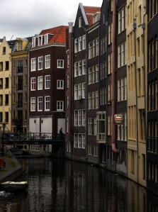 A Venice-like canal scene, in De Wallen, the red light district.