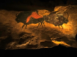 Most of the prehistoric caves in the region are no longer accessible due to deterioration caused by visitors. Some allow only a limited number of visitors. This photo is of a re-creation of some actual cave art.