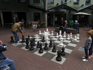 A giant chess board in a public square.