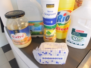 Shopping for everyday things is a good way to begin to learn the language. Can you identify each of these products?