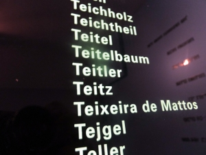 Etched into a wall are the surnames of hundreds of Jewish families who were killed by Nazi brutality.