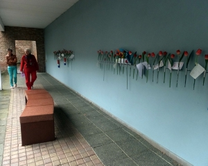 Relatives of those killed can leave a flower and a note in remembrance of loved ones.