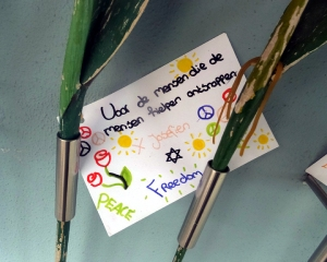 The notes are poignant and touching. Many wish for peace.
