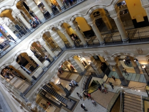 The interior of the Magna Plaza shopping center looks like an Escher print.