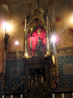 Inside the chapel is another Black Madonna. These are so called because of the natural color of the wood from which they were carved, together with centuries of darkening from being in smoky interiors.