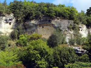 "The Dordogne is littered with prehistoric sites. These are the remains of ""troglodyte"" dwellings. Inhabitants took advantage of natural caves and malleable stone to create homes that were practical and defensible."
