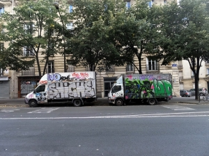 For all its splendor, Paris has its sullied side. Anything that can be tagged with graffiti is tagged. And not just anything that doesn't move. Plain white trucks are a favorite target.
