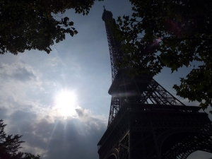 We saw the Eiffel Tower, but did not go up it. It's a hard thing to photograph in an interesting way. Here's one attempt.