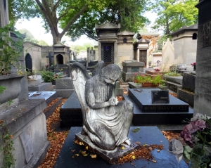 Père Lachaise Cemetery is a beautiful place, with many lovely monuments set amid rolling hills and shading trees.