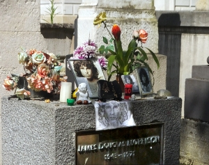 Jim Morrison's modest gravesite is one of the most visited.