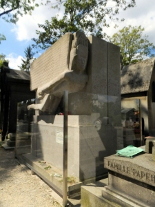As popular as Morrison's is the massive and whimsical tomb of Oscar Wilde, now protected from defacement by a clear plastic barrier wall.