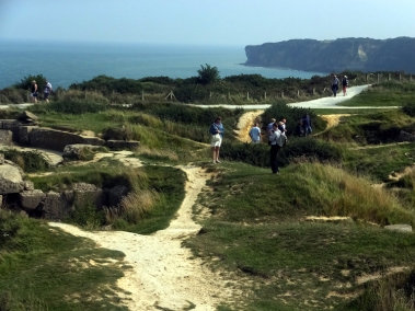 """Bomb craters from the pre-assault """"softening up"""" are still visible at Point du Hoc."""