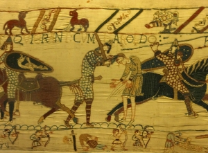 In comic-book-like panels, the Tapestry tells the story of the Norman invasion of England in 1066. The Duke of Normandy, then William the Bastard, prevailed in the Battle of Hastings and has been known ever since as William the Conqueror. The history of western civilization was changed forever.