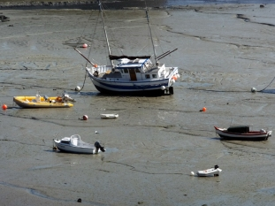 Boats of every size and description sit high and dry, stranded until the next tide comes in.