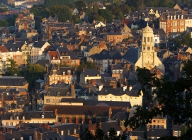 This shot was taken from a high vantage point over the town. The church on the right is Saint Leonards. We were staying in a quaint flat on Rue Saint Leonard., near the church, so Leonard Cohen songs constituted the soundtrack running through my mind.