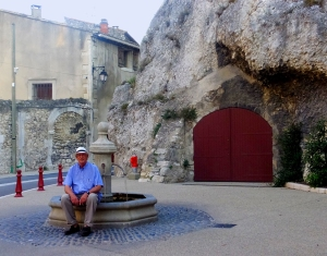Here I am resting at the fountain near the cave. The cave is used to store the town's landscape maintenance equipment.