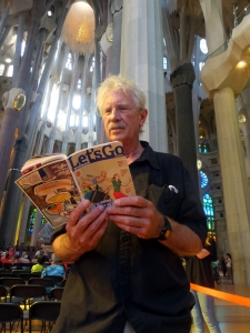 Why am I reading Ryanair's in-flight magazine inside Sagrada Familia? To enter in a Ryanair promotional contest for a free flight voucher.