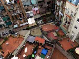 The view straight down from our balcony shows the jigsaw puzzle of our neighbors' back terraces.