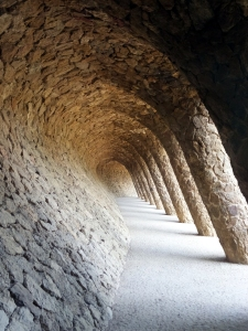 The gigantic park is filled with visual delights. This tilted, curving colonnade resembles a wave. If you visit Barcelona, Park Güell is a must.
