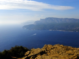 Scenic overlooks conveniently provide places to stop and ogle the scenery. This view is looking over the Mediterranean back toward Cassis.