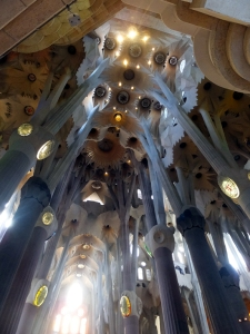 The interior is a breathtaking collage of form, color, and light. Gaudi's organic forms draw from nature, echoing the cathedral-like majesty of a great forest.