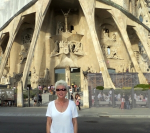 Like Park Güell, it's best to get your tickets online for an appointed entry time. Here Sarah stands in front of the Passion Façade of Sagrada Familia after our visit.