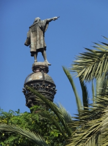 Columbus points the way to the New World.