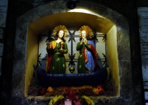 Inside the church are said to be relics of two saints, Mary Salome and Mary Jacobea. Mary Salome was mother of St. John the Evangelist and St. James. Mary Jacobea also was the mother of several of Jesus' apostles. They are believed to be among the women who first witnessed the empty tomb after the resurrection of Jesus. The story is that these two women, along with others, were exiled from Palestine during persecutions of Christians in A.D. 45. They were launched off in a boat with no oars and ended up on this shore of southern France. They are reputedly the first people to tell this part of the world about the miracle of the Resurrection.