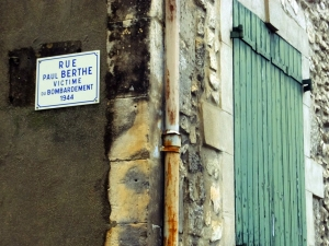 As in much of France, the memories of the losses inflicted by the Nazis in World War II are memorialized. Here many of the streets were renamed after ordinary citizens who lost their lives in the war.