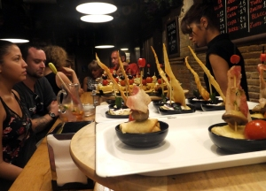 We learned that visitors can eat well and cheaply in Barcelona. These delicious tapas were one euro each. At the end of the evening, the bartender counts the toothpicks left on your plate and charges accordingly.