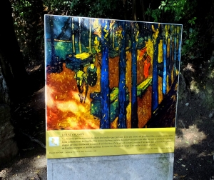 Van Gogh also walked this avenue of the dead. This plaque displays his painting called <em>Alyscamps.</em>