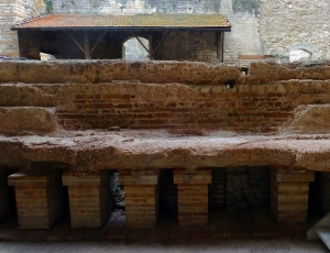 These multi-level structures heated the baths with fires from below.