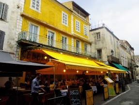 After visiting the baths, we rounded a corner to find this cafe on the Place du Forum, painted and decorated to look like the one in Van Gogh's Café Terrace at Night, though it is reputedly not the actual cafe in the painting.