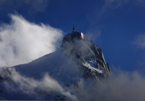 Chamonix lies in the shadow of Mont Blanc, western Europe's largest mountain. The terminus of the Agile du Midi cable car system, more than two miles above sea level.