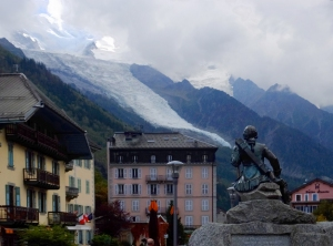 Another statue of Balmat peers upward at the cascading glacier above the town.