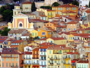 The town itself is a lovely melange of pastel-colored shapes.
