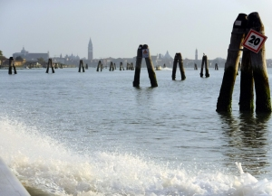 We took the water taxi from the airport on the mainland. This was our first view of Venice.