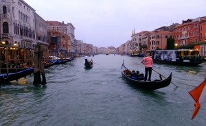 For a few euros, you can ride the length of the Grand Canal and circle the city. This is one view from the back of a vaporetto.