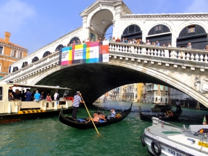 The Rialto is one of the few bridges across the Grand Canal, the wide thoroughfare that snakes its way through the center of the city.