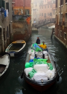 Deliveries, trash pickup, services, and construction are all done using boats.