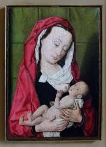 Among the many Madonna and Child paintings in the Correr are several that depict Mary nursing the baby Jesus -- something I've never seen before. Dierick Bouts, Madonna Con Bambino, 15th century.