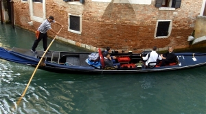 For many tourists, a gondola ride is an essential Venetian activity. Click this image to see a short video of a musical gondola ride I happened upon. (The video will open in a new window, which you can close to return to the blog.)