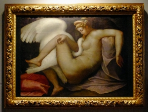 "Leda And The Swan is another 16th century work by an unknown artist. The Correr's identification plaque says it is ""after a painting by Michaelangelo."" The eroticism is palpable."