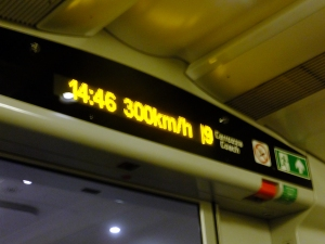 From Rome, we took a train to Naples. Some of Italy's trains are very fast. On this trip we reached 300 kilometers per hour (about 186 mph). That is NASCAR-class speed!