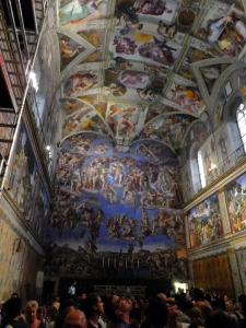 Last stop on the tour is the Sistine Chapel. Our guide warned us that pictures are forbidden. Then she disappeared. We were on our own, in this magnificent room, in a sea of cows -- I mean people -- just like us.